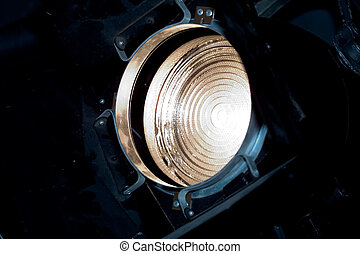 Theater lantern - Fresnel lens on theater light with...