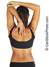 Tricep Stretch - A female fitness instructor demonstrates a...