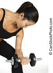 Dumbbell Curl 2 - A female fitness instructor demonstrates a...