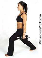 Dumbbell Lunge - A female fitness instructor demonstrates a...