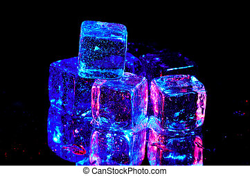 Ice Cubes With Colored Lighting