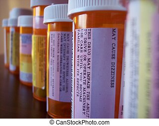Warnings - Pill Bottles lined up