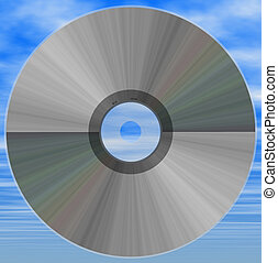 cd on clouds - compact disk on cloudy background