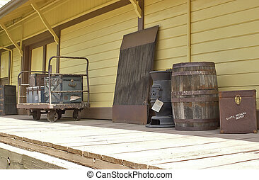 Vintage Railroad Station Platform - baggage platform of...