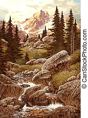 Colorado Stream - Image from an original painting by Larry...