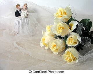 Wedding - Bride and groom figurine, yellow rose bouquet on...