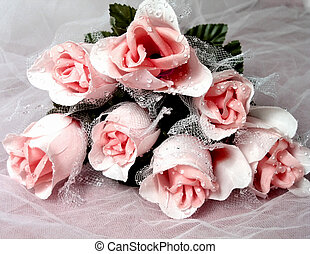 Pink Rose Bouquet - Bouquet of pink roses (artificial) on...
