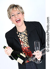 Woman with Champagne - Beautiful woman in business attire...