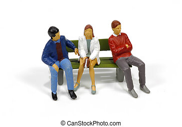 Bench 3 - Miniature People Sitting on Bench