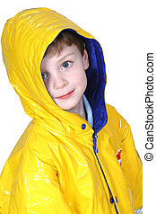Boy Child Rain Coat - Four year old boy with big blue eyes...