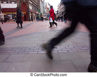 highstreet shopping - shoppers in birmingham city centre