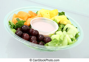 Fruit Tray - Fruit tray on glass table top Shot with the...