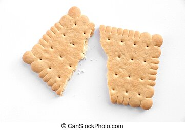 Broken biscuit - Biscuit on white background