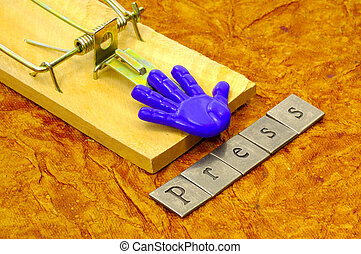 Trap - Mousetrap With Text Spelling The Word Press