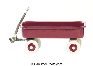 Red Wagon - A toy red wagon isolated on a white background....