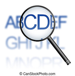 CD - Magnifying of abbreviation CD from the alphabet.