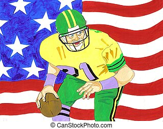 American Football - American football scanned image