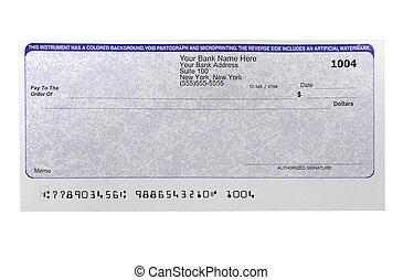 em branco, cheque