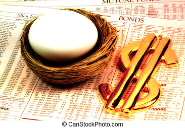 Savings - Nest Egg and Dollar Sign With Color and Blur See...