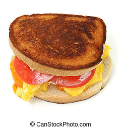 Egg Sandwich - Extreme close-up of a scrambled egg and...