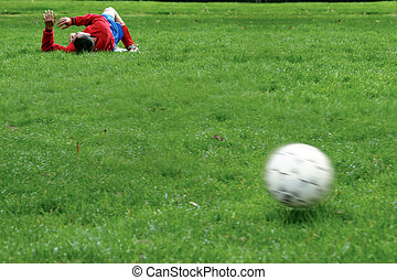 Injured player on the soccer field