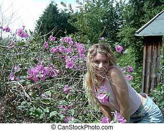 Flower girl - Girl in flowery garden
