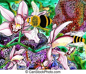 Bumble Bees - pen and ink illustration