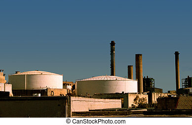 Industrial scape - View of a power stations chimneys and its...