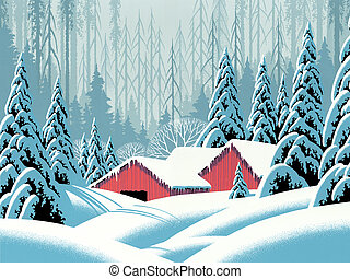 Snow Scene Barns - Image from an original painting by Larry...
