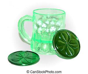 Green Mug and Tokens - Small green mug and two green clover...