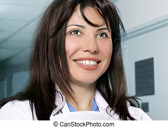 Hospital staff - Smiling hospital or clinical staff in...