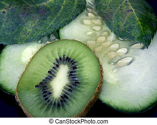 kiwi n cucs - kiwi and cucumber with leaves