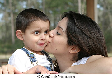Mothers Kiss - Mom kissing son