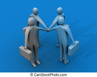 Lets go - 3d people holding hand