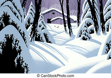 Snow Covered Barn - Image from an original painting by Larry...
