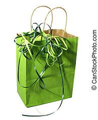 väska, grön, gåva