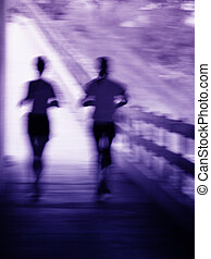 Running couple blur - Artistic blue and purple blur of a...