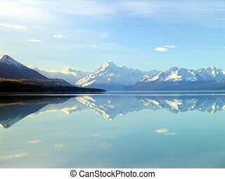 Reflections - Reflection on lake with Mt Cook in the...