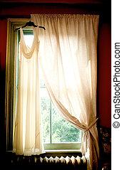 Wedding dress in a window