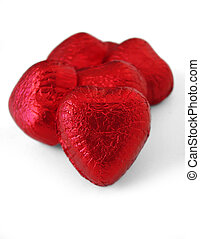 Chocolate Hearts - Foil covered chocolate hearts. Picture...