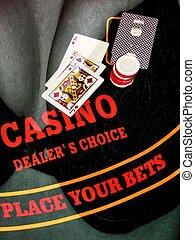 casino girl - casino gambling overlayed on breast photo