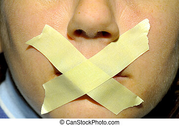 Quiet - Woman With Tape on Her Mouth.