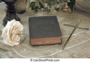 Forgotten - Old world bible with crucifix and rose with...