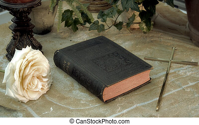Forgotten - 1914 Bible with rose and crucifix