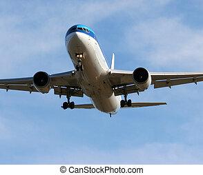 Jet landing - Plane approaching runway