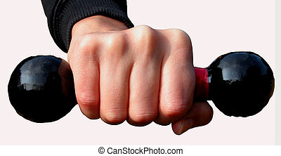 Punch - a hand keeping with force a barbells-isolation with...