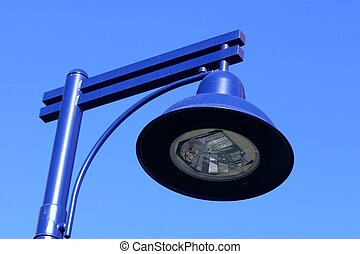 Blue Light - Light on a blue light pole against a blue sky