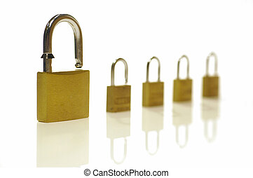 security levels - large padlock with four smaller ones