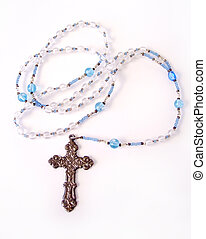 Blue Rosery 3 - Blue Rosery Beads with silver Cross