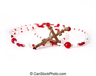 Red Rosery 3 - Red Rosery Beads with gold Cross